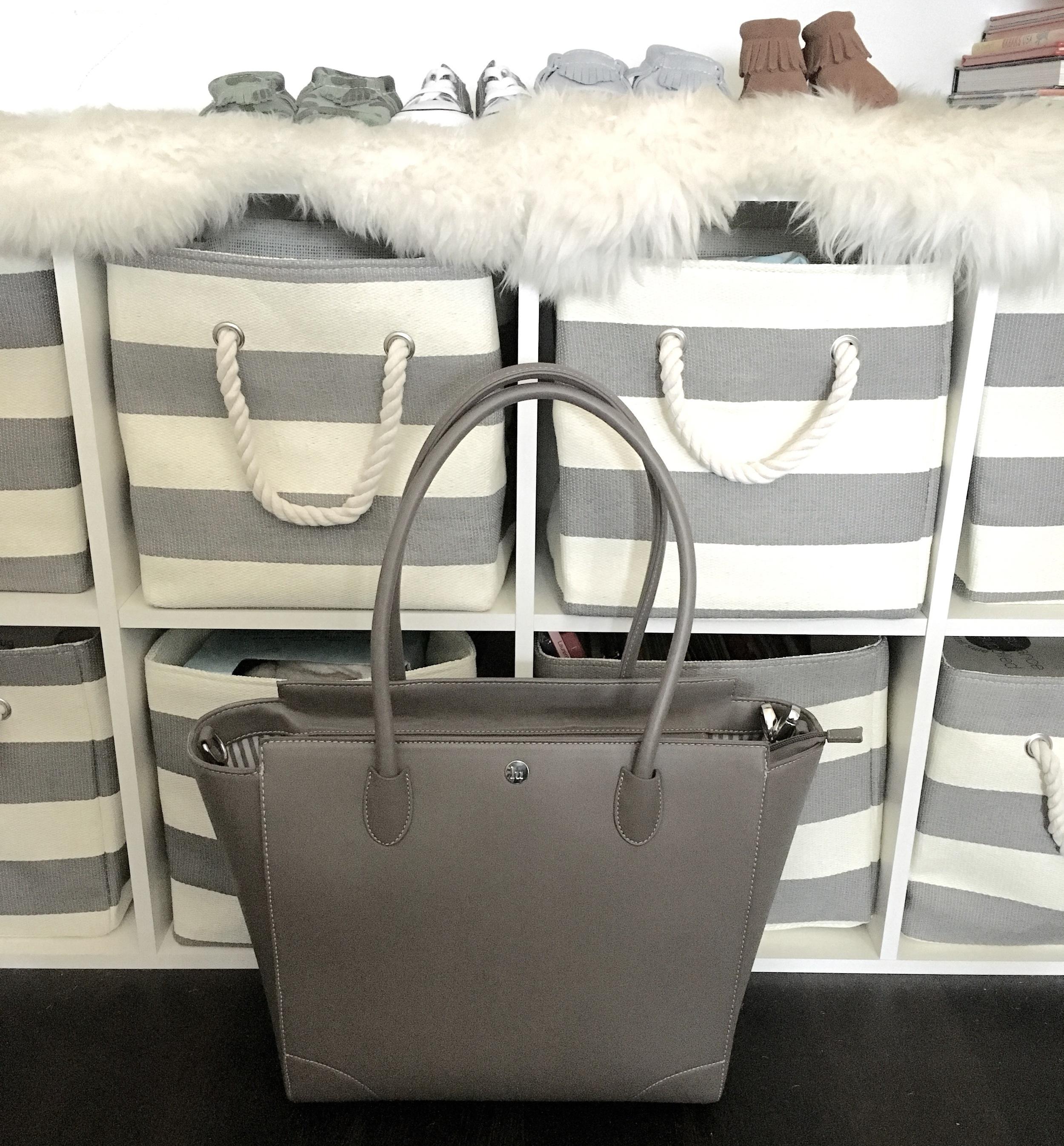 Storage baskets:  Land of Nod ; Diaper bag:  Little Unicorn