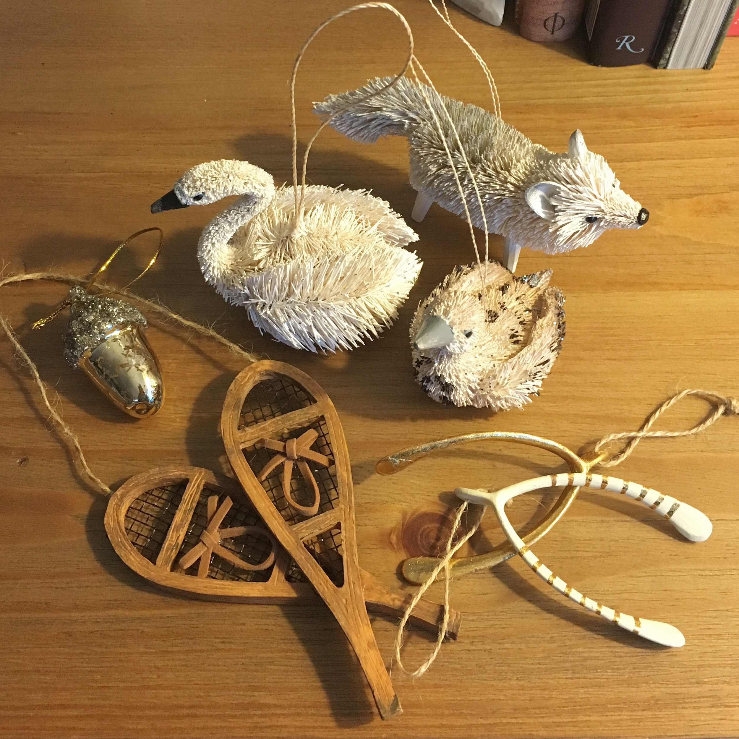 A collection of rustic ornaments for the tree...