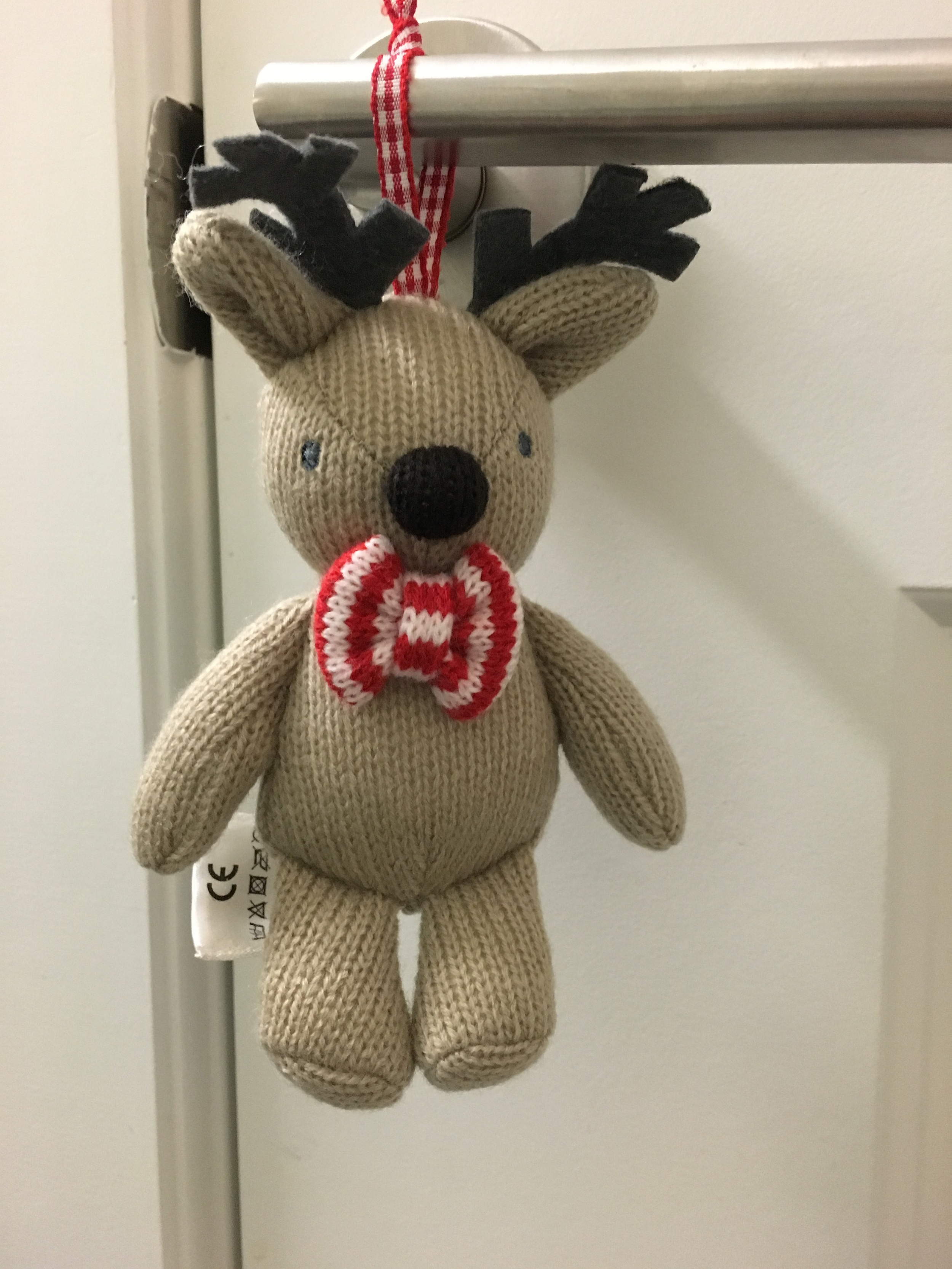 The cutest knit reindeer for Jake's room (a gift from a relative in England)
