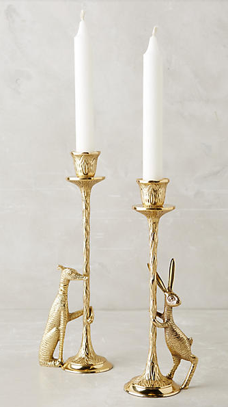 Meeting Post Taper Holder , $44  These tapered candlestick holders are whimsical and sophisticated. Grab a pair or rabbits, a pair of dogs, or mix-and-match to add some fun to your table this holiday season.