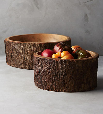Mango Bark Bowl , $58-$88  These bowls are just stunning and the perfect way to bring the outdoors inside your kitchen. Beautifully crafted and perfectly rustic. Fill them with apples in your kitchen or pinecones and candles in the living room. I know I'll be picking up one in each size...