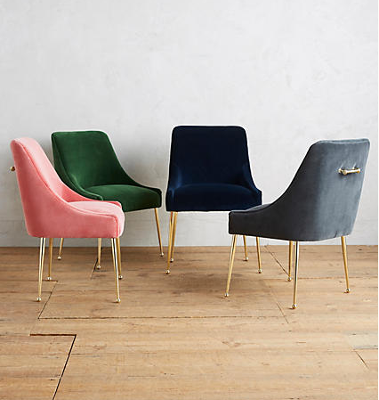 Elowen Chairs , $398  If we only had a more formal dining room, a set of these stunning velvet chairs would be in it. Super luxe but surprisingly affordable, they come in a mix of colors to fit any decor. I personally love the gray and the deep navy.