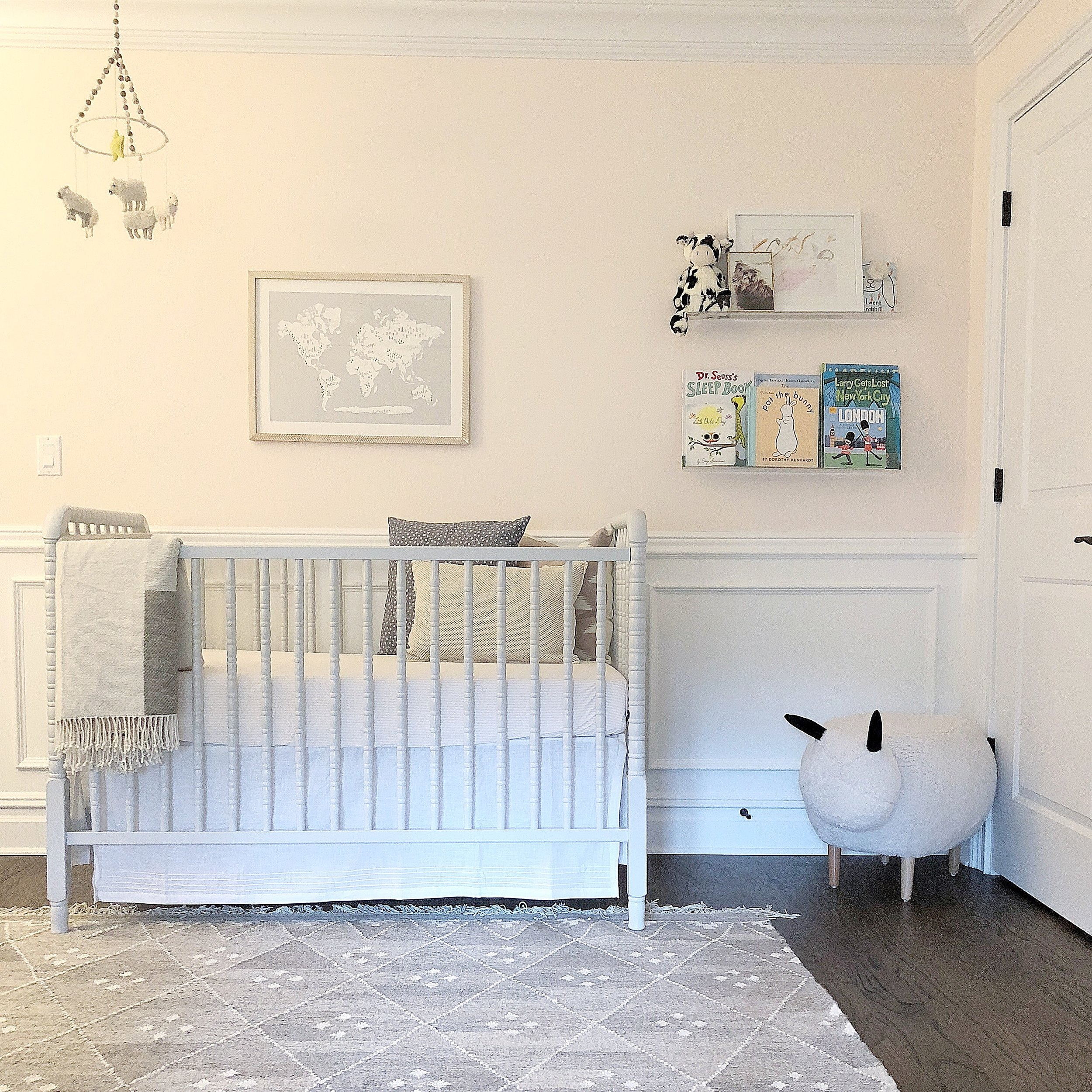 Light grey Jenny Lind spindle crib because both kids will be in cribs but I wanted to make sure that this one looked very different from Jacob's (which is more modern and a bright white).