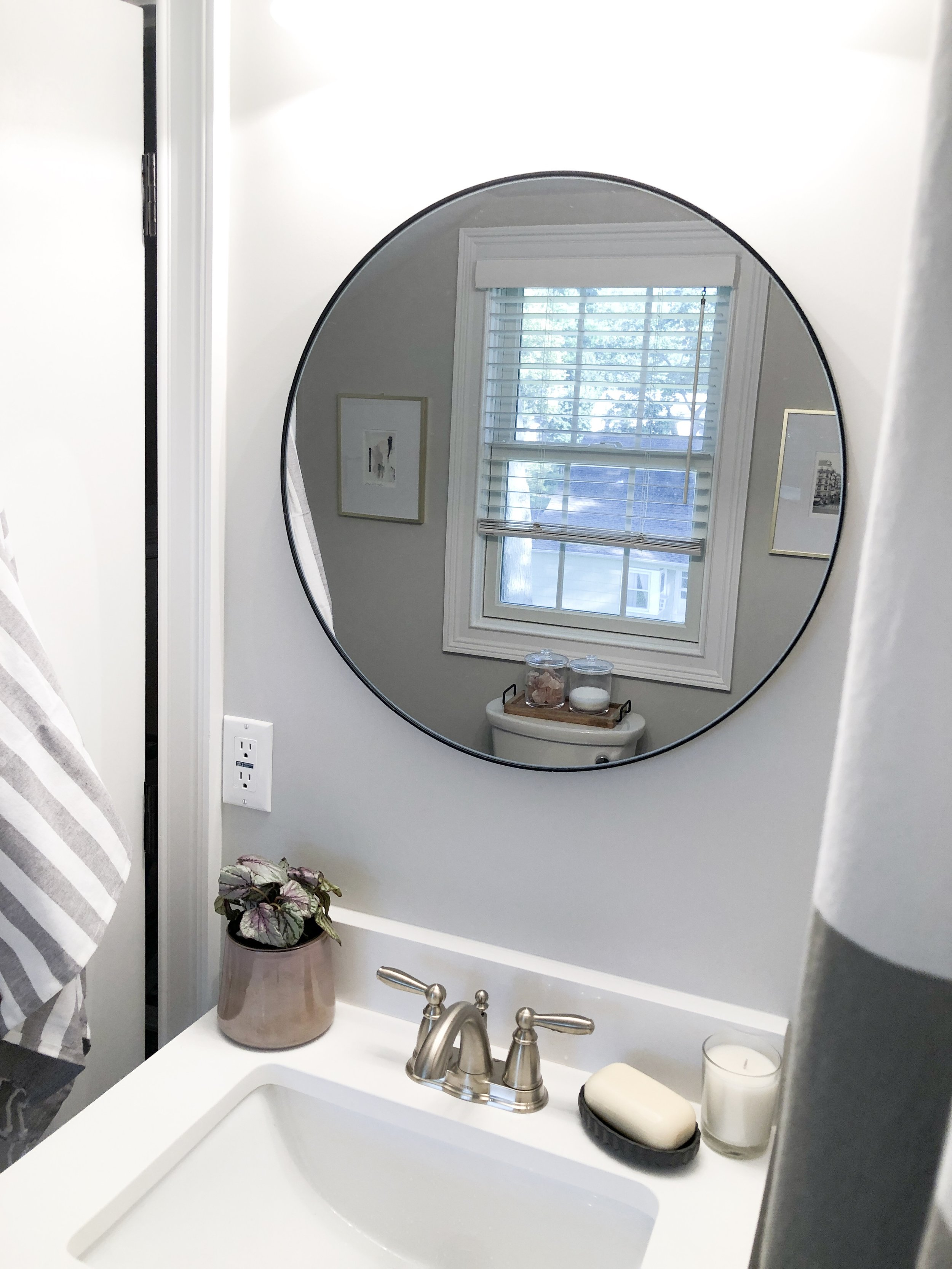 Loving this round mirror I found! It's the perfect size for our small vanity up here.
