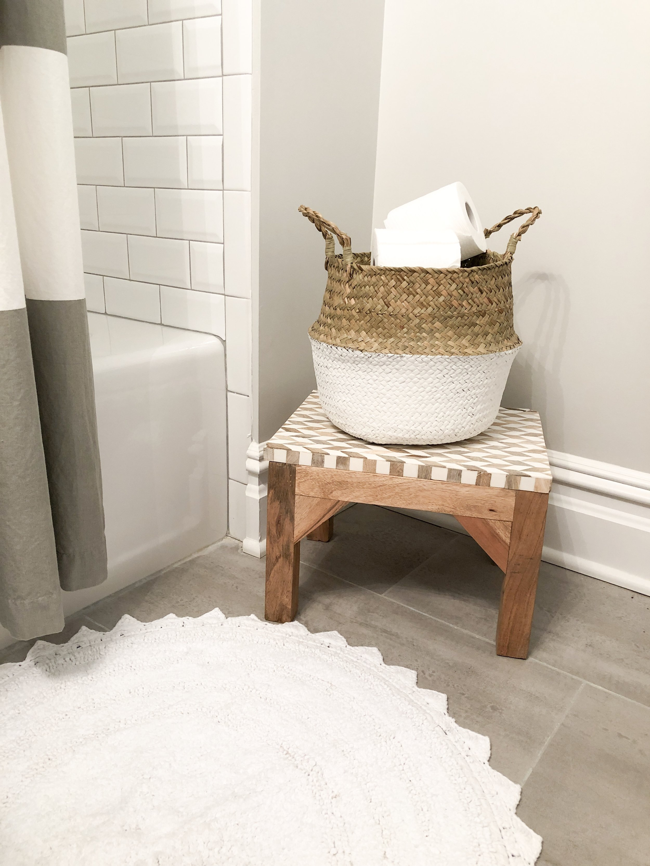 Belly basket make for attractive storage for toilet paper.