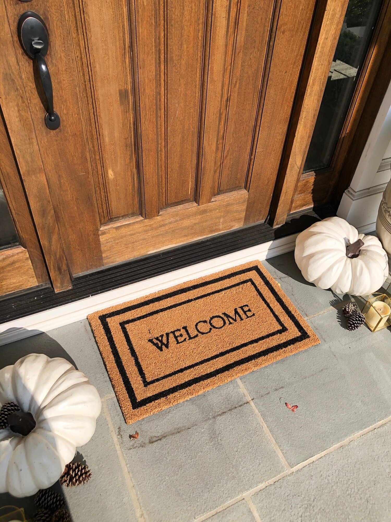 Our new welcome mat fits perfectly.