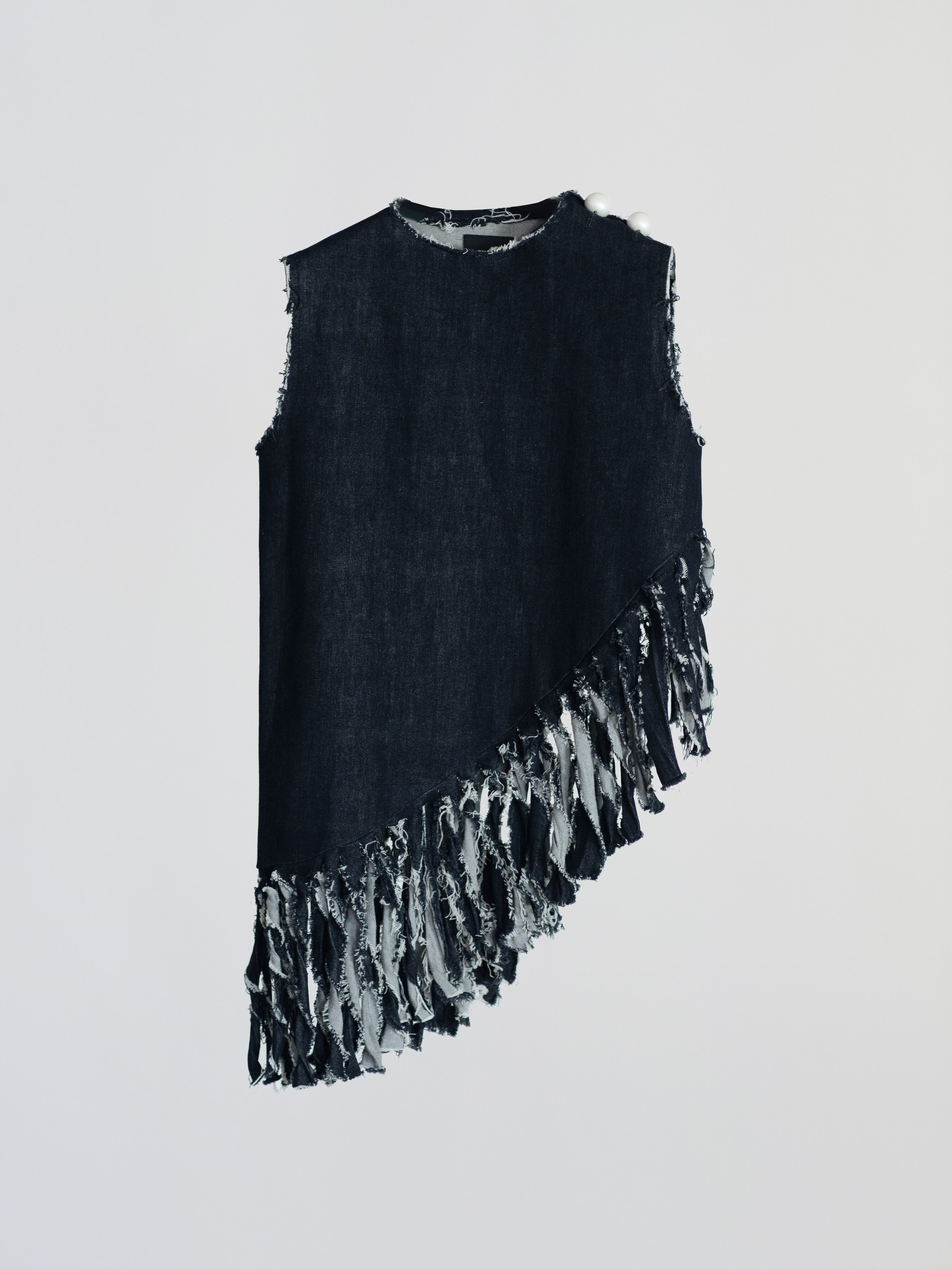 LONG DENIM TOP WITH PEARL