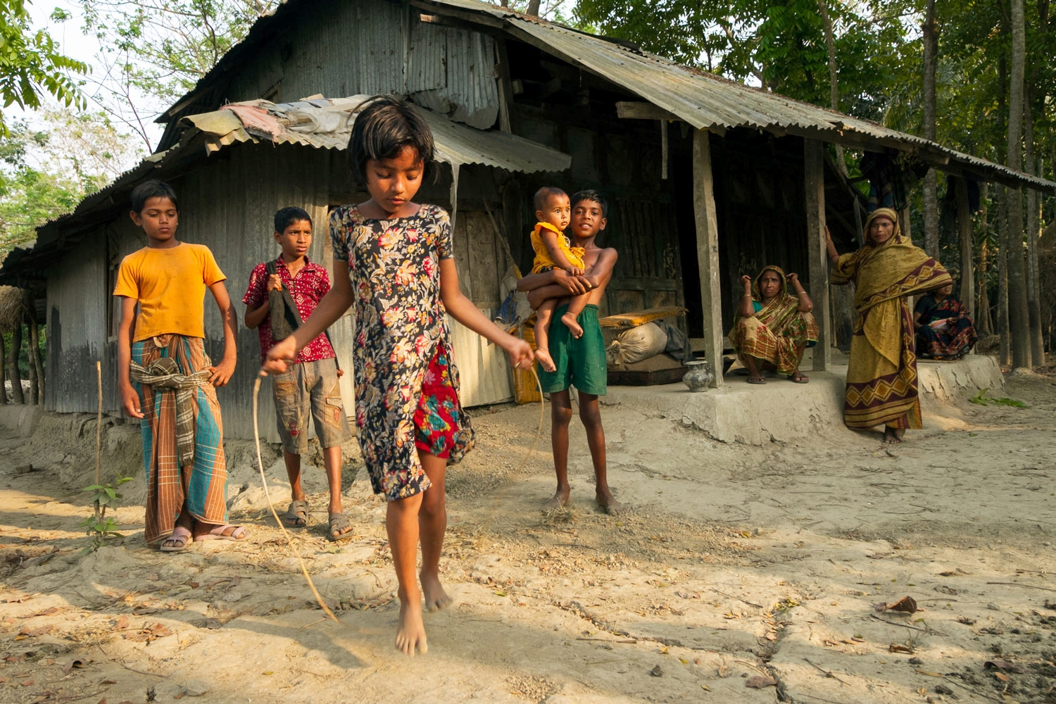 OPEN THIS PUBLICATION  SAFE AND SOUND: SECURING THE LIVES AND LIVELIHOODS OF BANGLADESH'S MOST VULNERABLE   Jumping rope; Barisal, Bangladesh