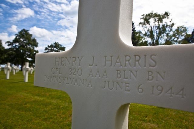 Cpl. Henry J. Harris of Pennsylvania died on June 6, 1944. He is buried at the American Cemetery in Normandy.  Photo: Linda Hervieux