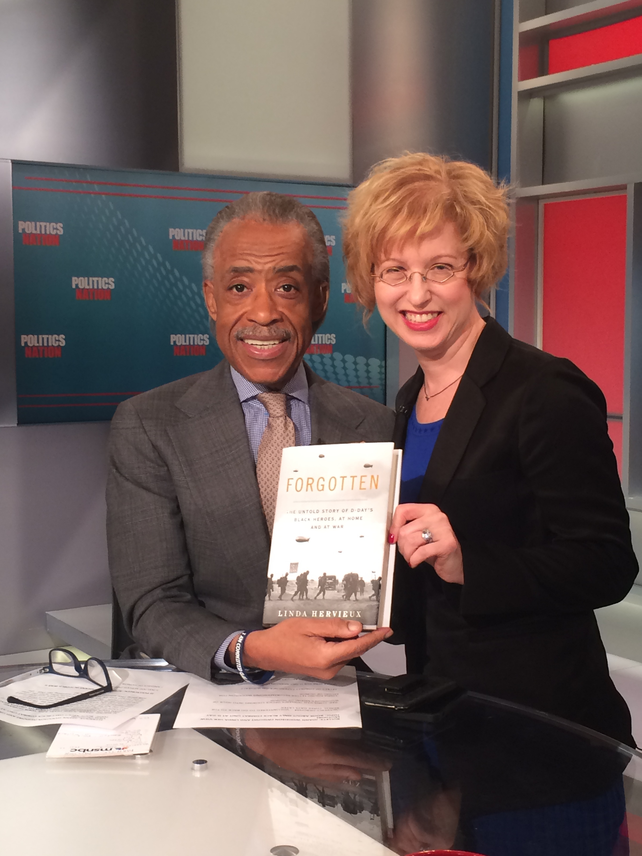 Al Sharpton interviewed Linda Hervieux at MSNBC's studios in Rockefeller Center.