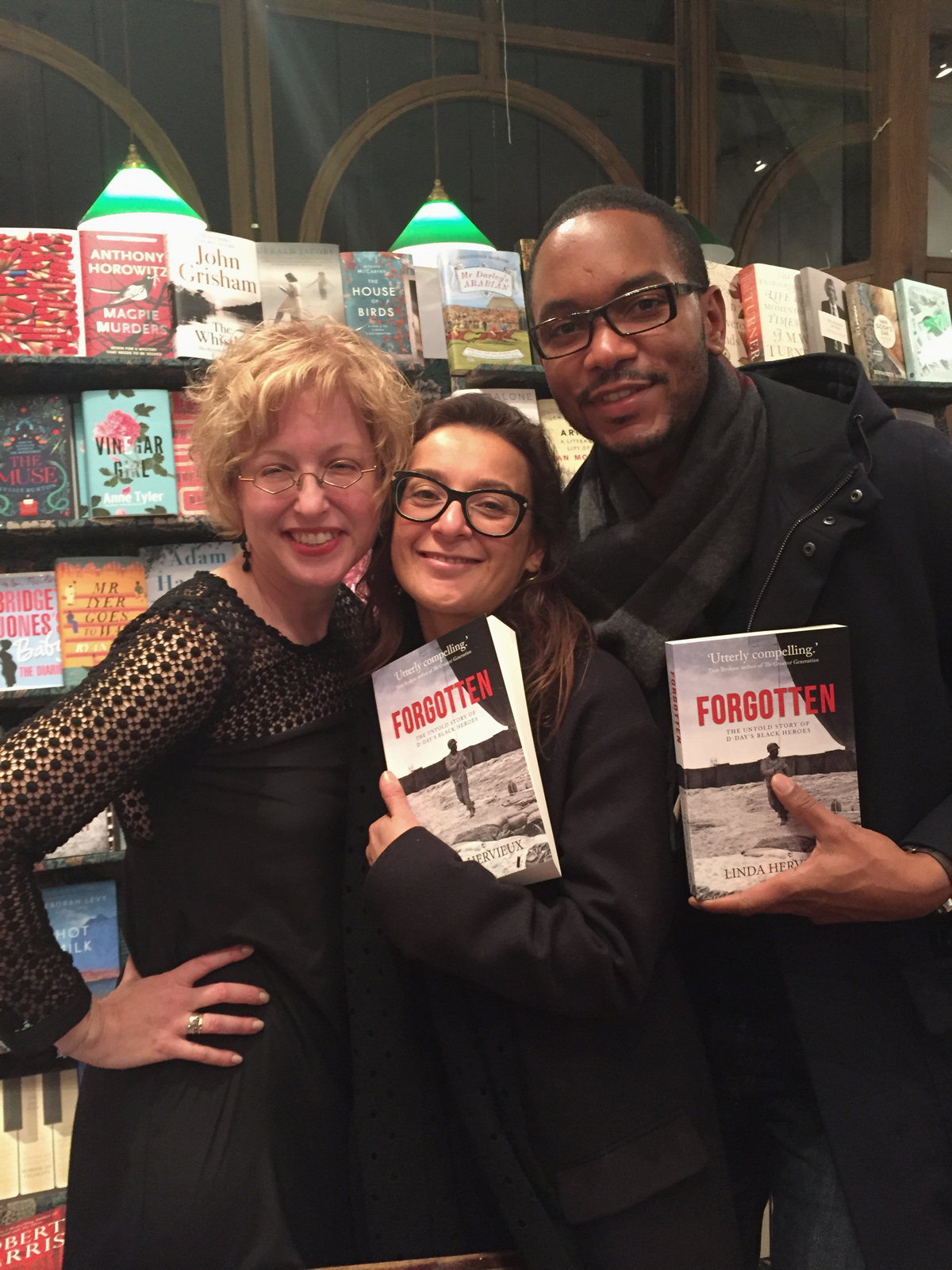 Linda with Orianna and Lionel at the FORGOTTEN launch party at Daunt Books Hampstead.