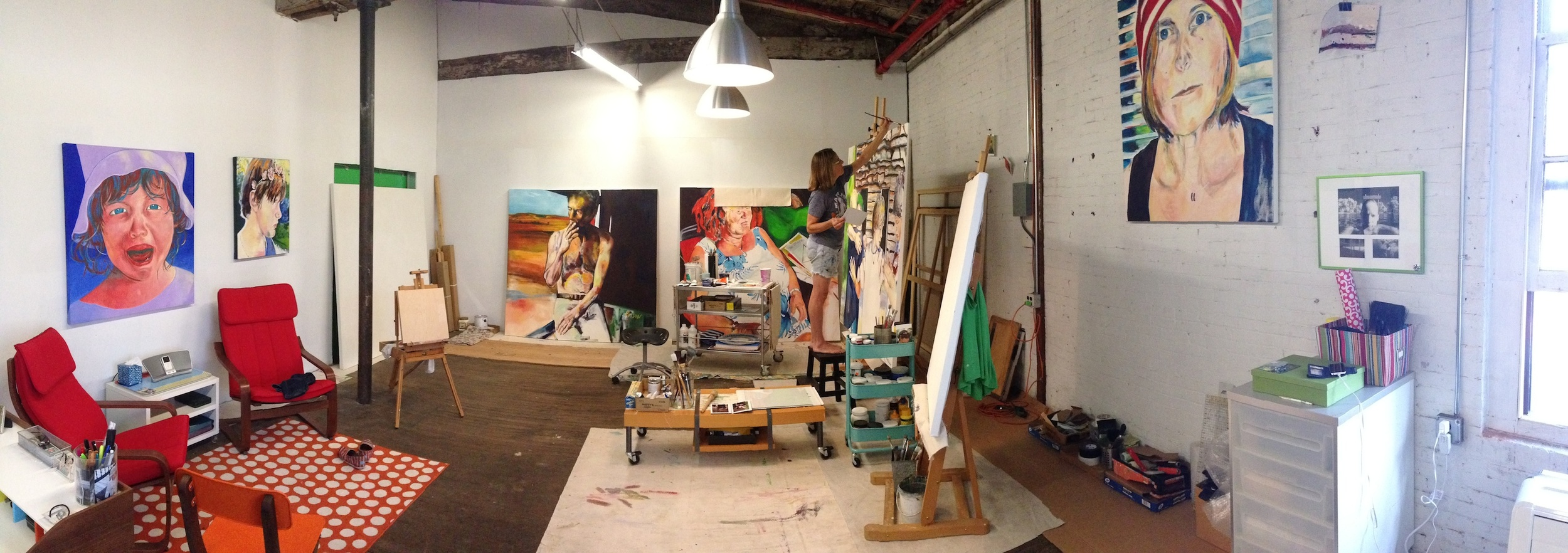 Jean in her studio at Garner Arts Center, Garnerville, NY