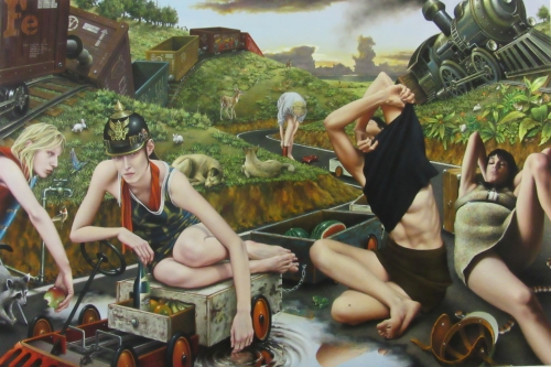 "Rest Stop, oil on canvas, 48"" x 72"" by Jorge Santos, Represented by Evan Lurie Gallery"