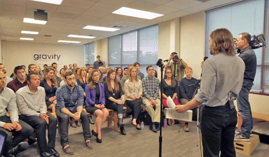 Dan Price making $70k wage announcement to Gravity staff, New York Times, NBC News