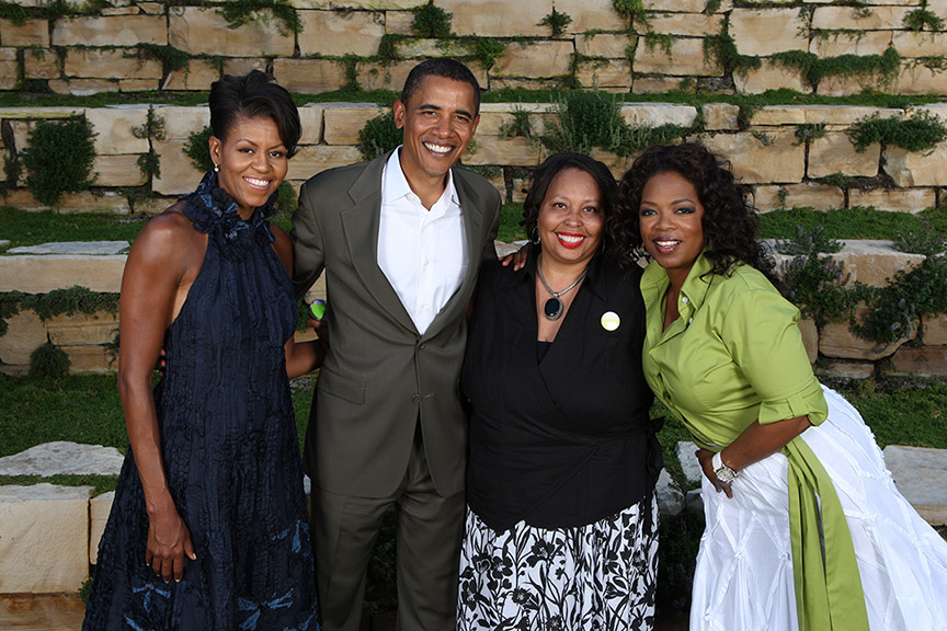 Michelle Obama, Barack Obama, Lena Kennedy and Oprah Winfrey (Photo/Courtesy of L. Kennedy)