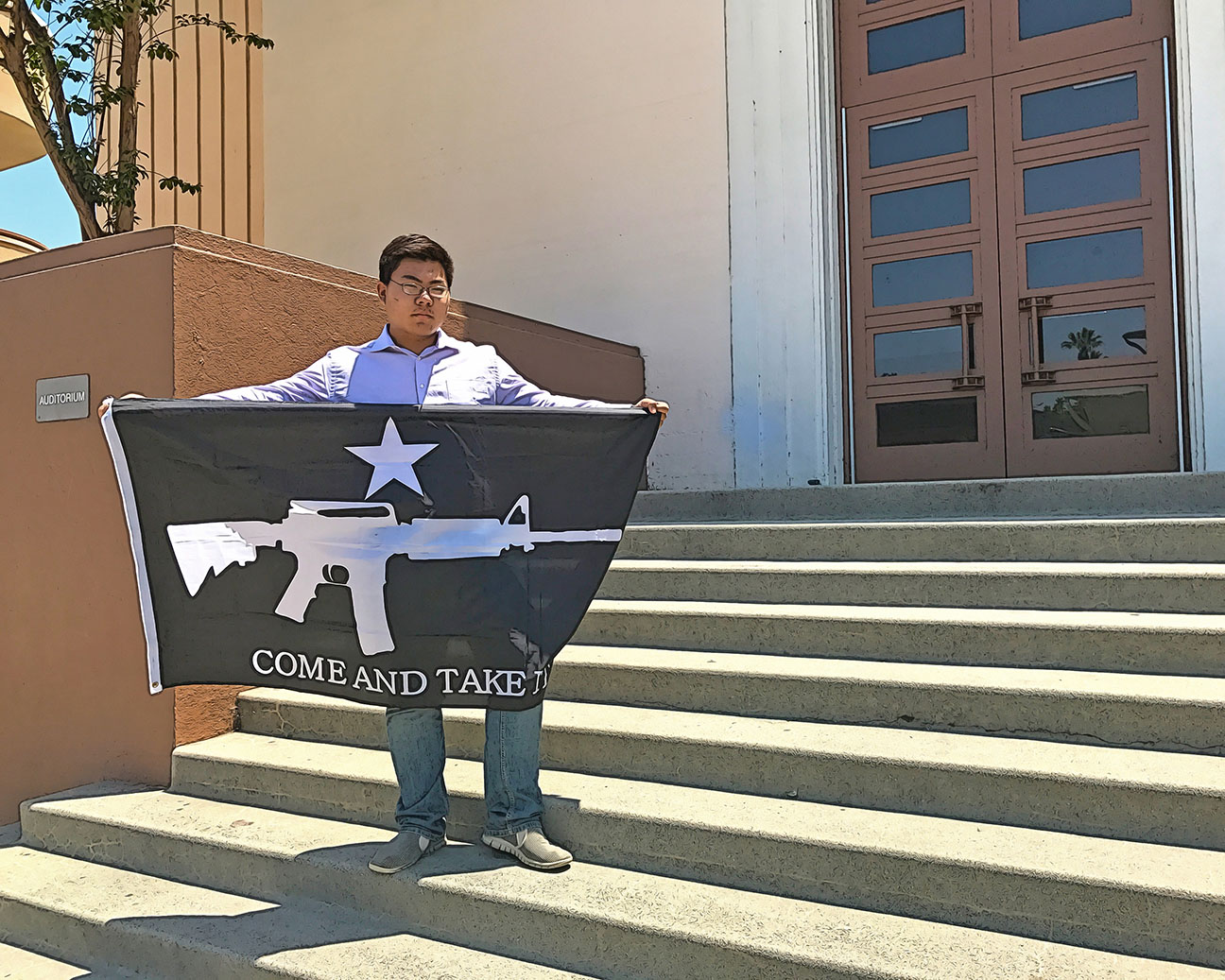 Charles Li on the steps of the South Pasadena High School auditorium. (Photo and illustration / Doug Forbes)