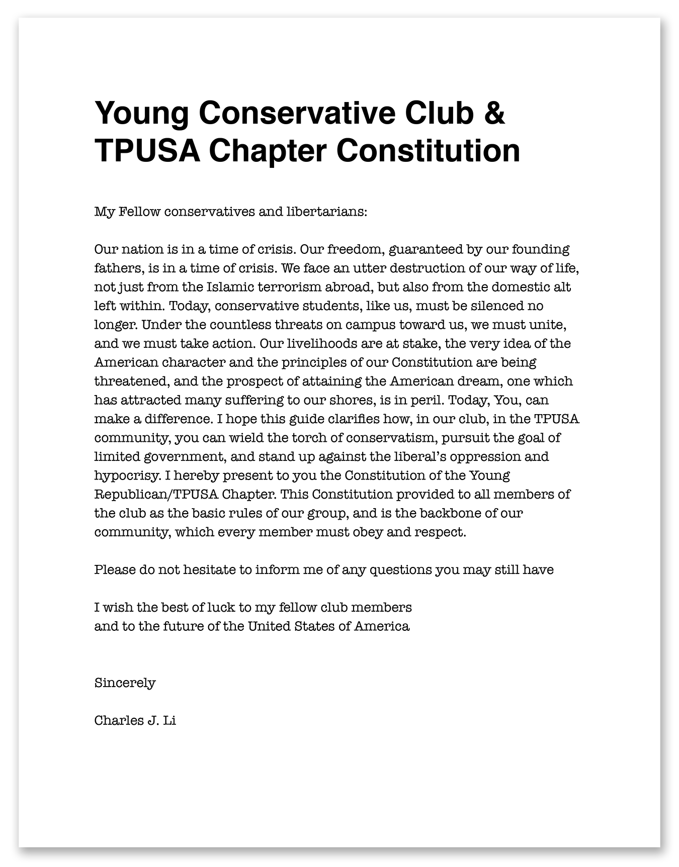 CLICK TO READ ENTIRE DOCUMENT Constitution for the Young Conservative Club that Li founded (Document / Li)