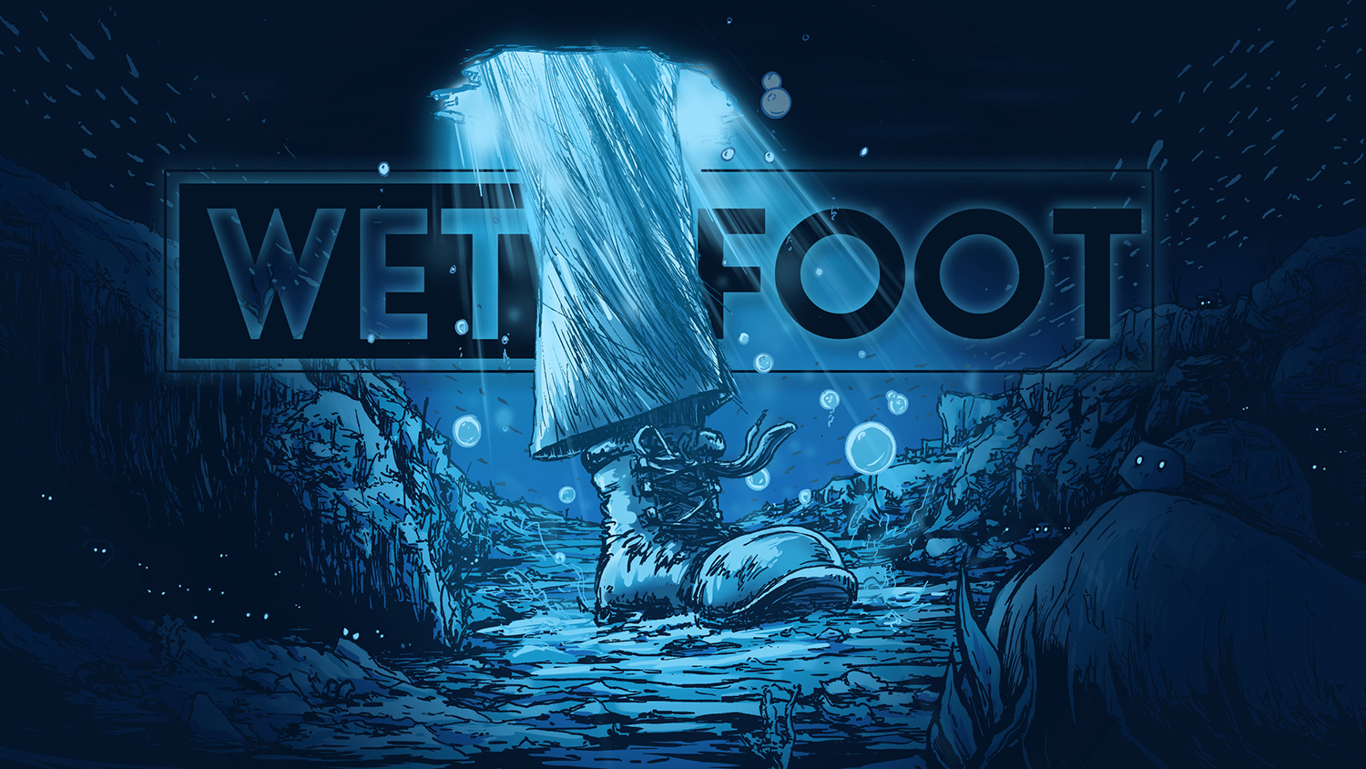 "Worked with comedian K urt Braunohler  to produce his companies Title Card Slate. He asked for a boot stepping in a puddle, I suggested having it submerged in water, Kurt added the idea of an underwater world, so I went for what I call ""Little Mermaid for a Boot""."