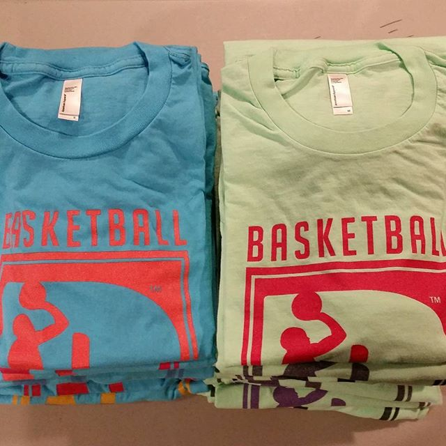 Some aqua and lime tees we popped out for @basketballbiomechanics to keep the guys looking #fresh