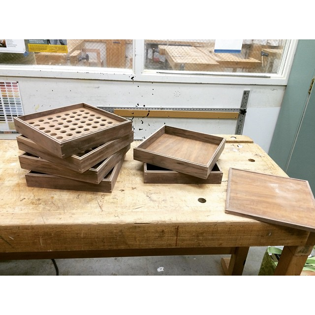 Here are some walnut communion trays in the works. They stack for easy storage. Now I just need to figure out a finish. #woodworkingforthelord