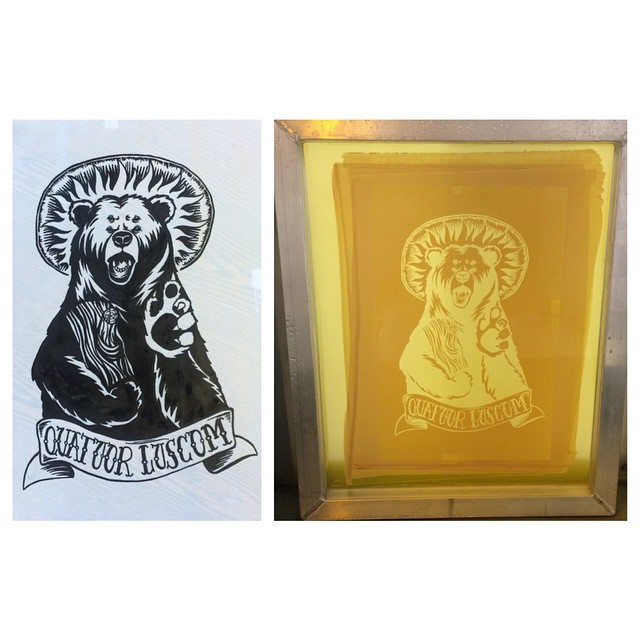 I burned my first screen. Now to start printing some four eyed bears, oh and figure out what to do with them.  #screenprinting