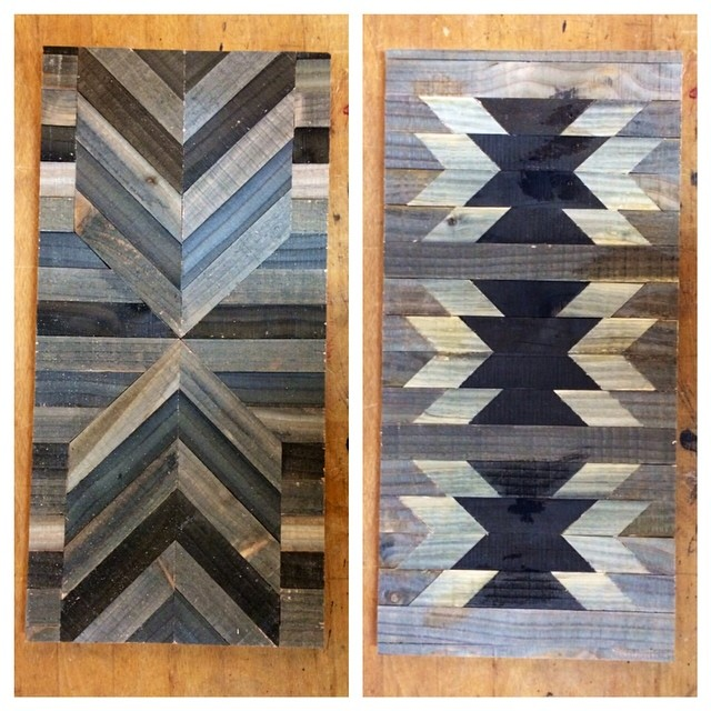 A couple more wall pieces. I've been having fun playing with patterns. #reclaimed