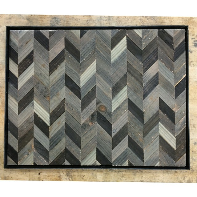 """Another wall panel. This time I also welded up a 2"""" metal frame. The metal frame seems to play well with the reclaimed wood."""