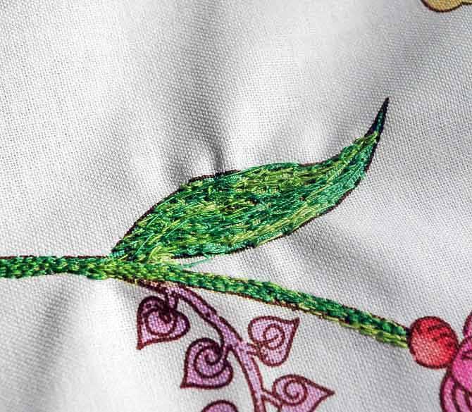Leaf stitched with zig-zag stitch.