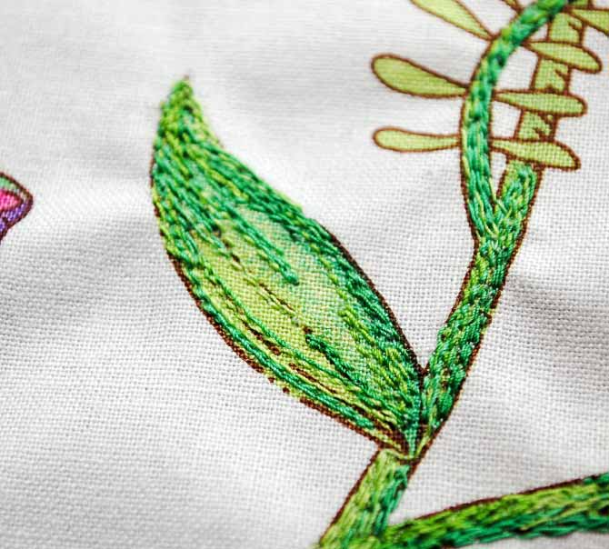 Stems and leaf stitched with straight stitch.
