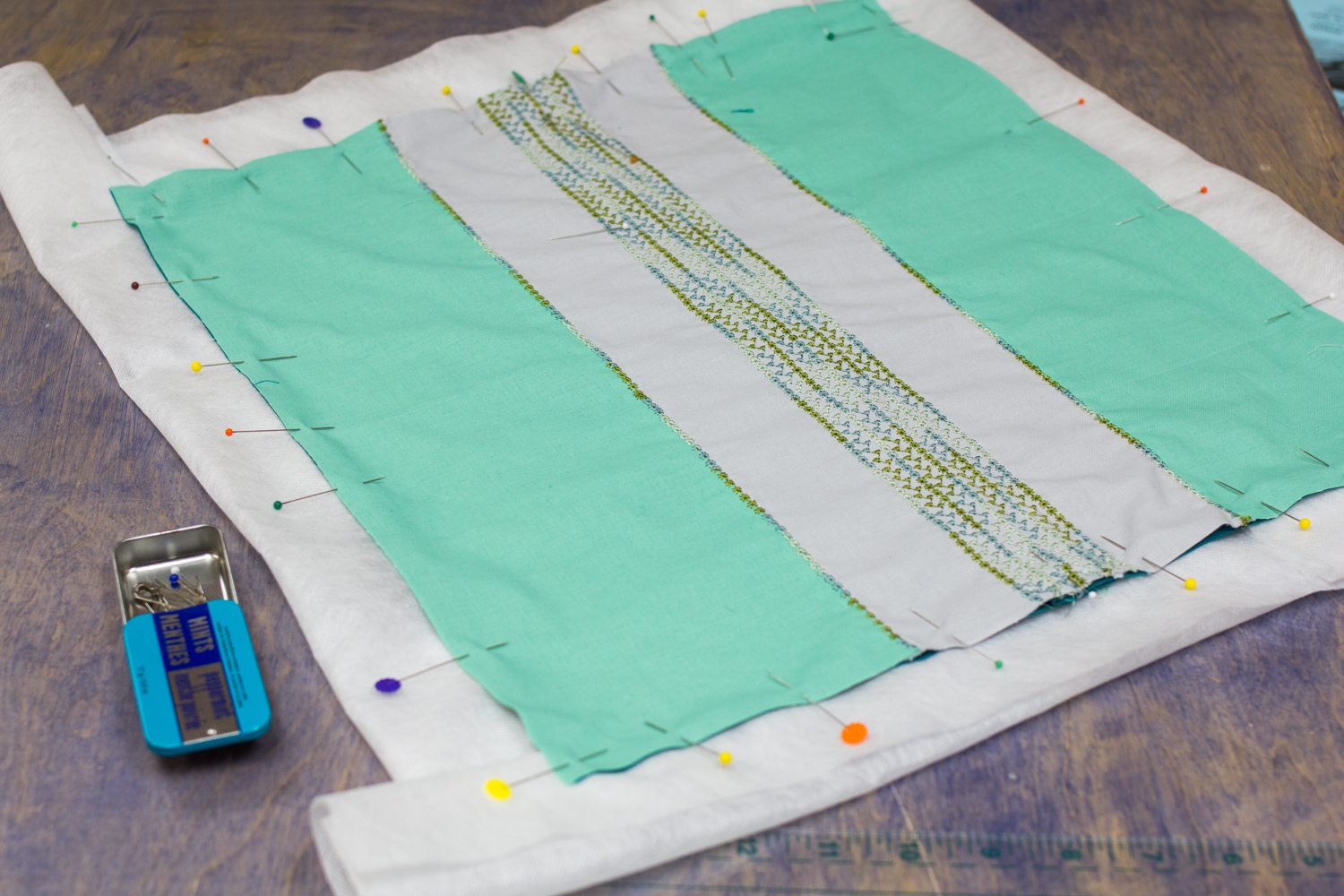 We will be crocheting all four edges of our pillowcase, so have attached water soluble stabilizer to every edge.