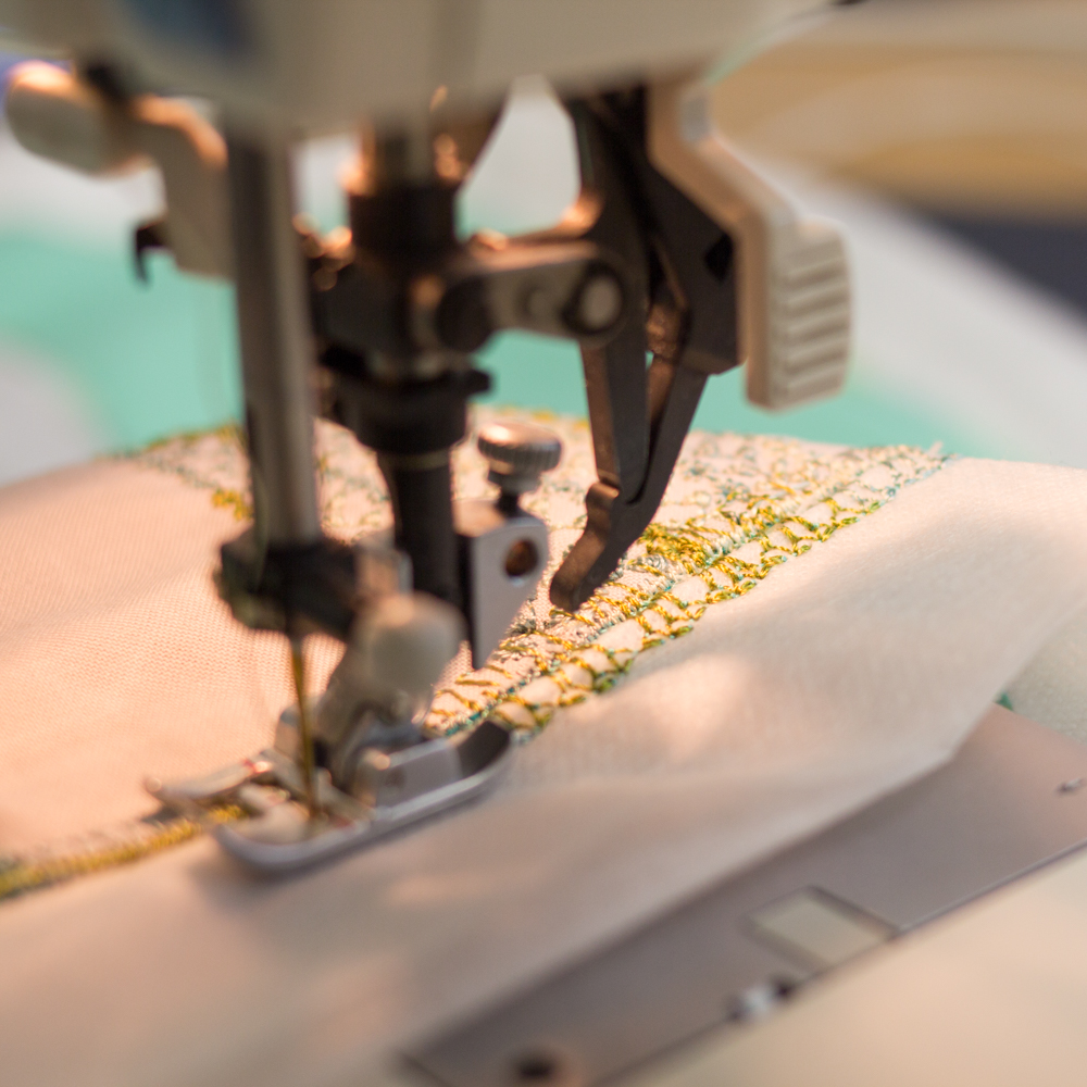 Stitching with a decorative stitch.