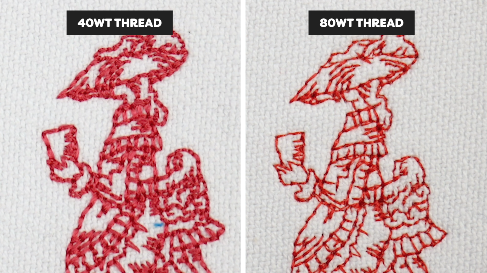 Same size embroidery design using 40wt thread on the left and 80wt thread on the right.