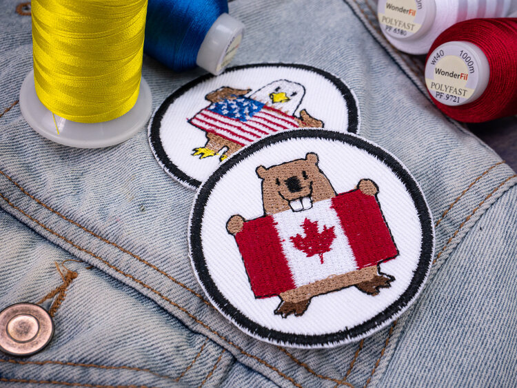 Machine embroidery using 40wt polyester thread, Polyfast™