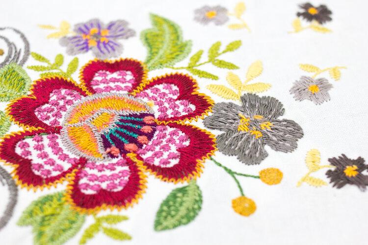 Machine embroidery using 12wt cotton thread, Spagetti™