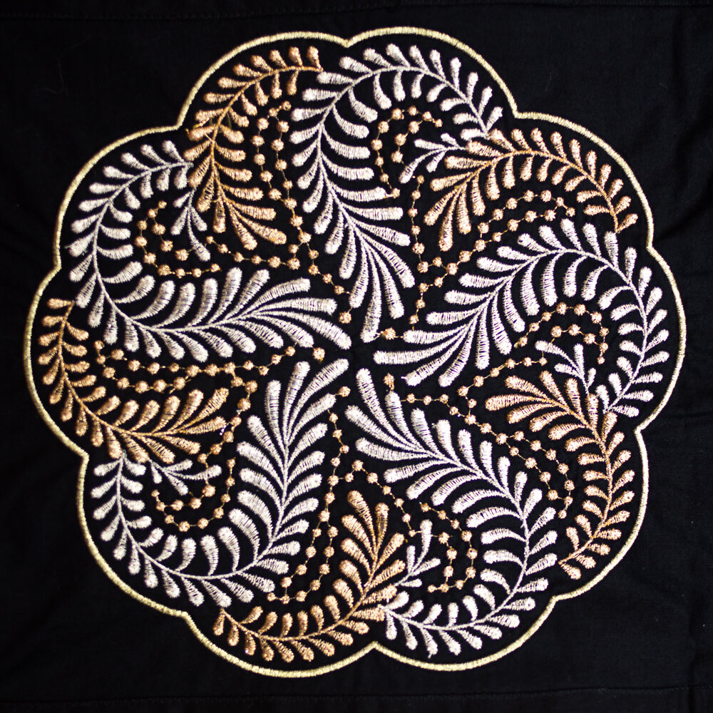 Machine embroidery using 40wt metallic thread, Spotlite™