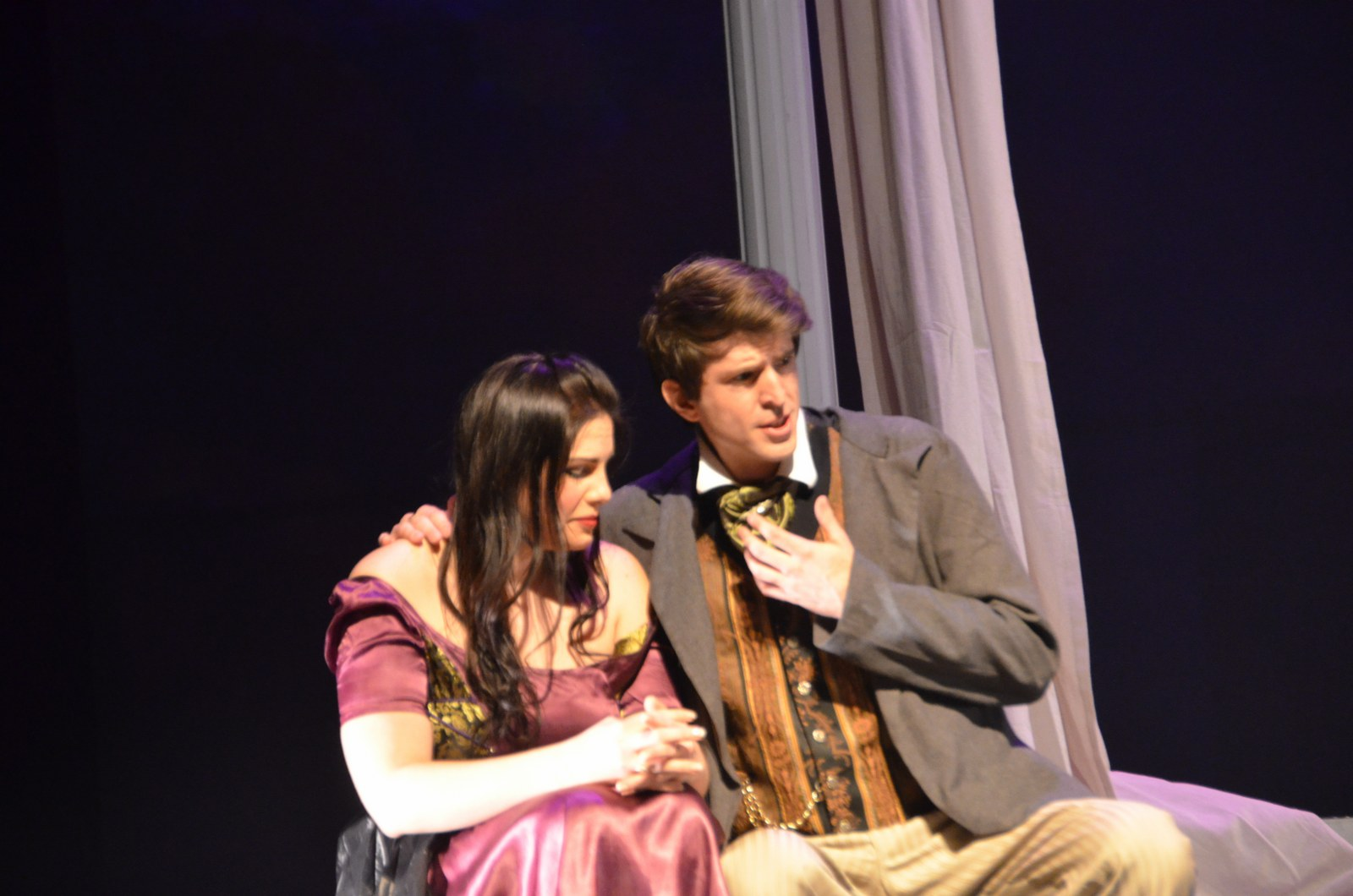 Stephanie DeCiantis as Nedda and Bradley Christensen as Silvio.