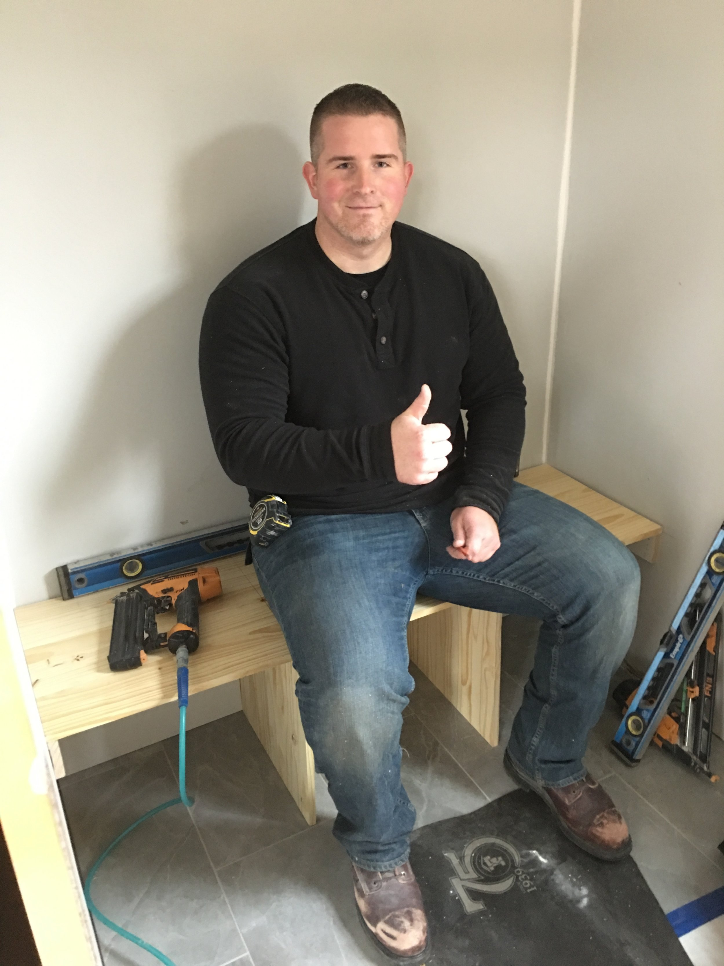 Frame of a mudroom bench while being built