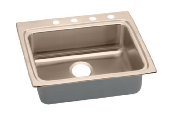 "Elkay CuVerro 25"" Single Basin Drop-In Kitchen Sink 2 Faucet Holes"