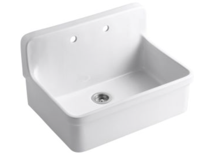 "Kohler Gilford 30"" Single Basin Wall Mount Kitchen Sink"