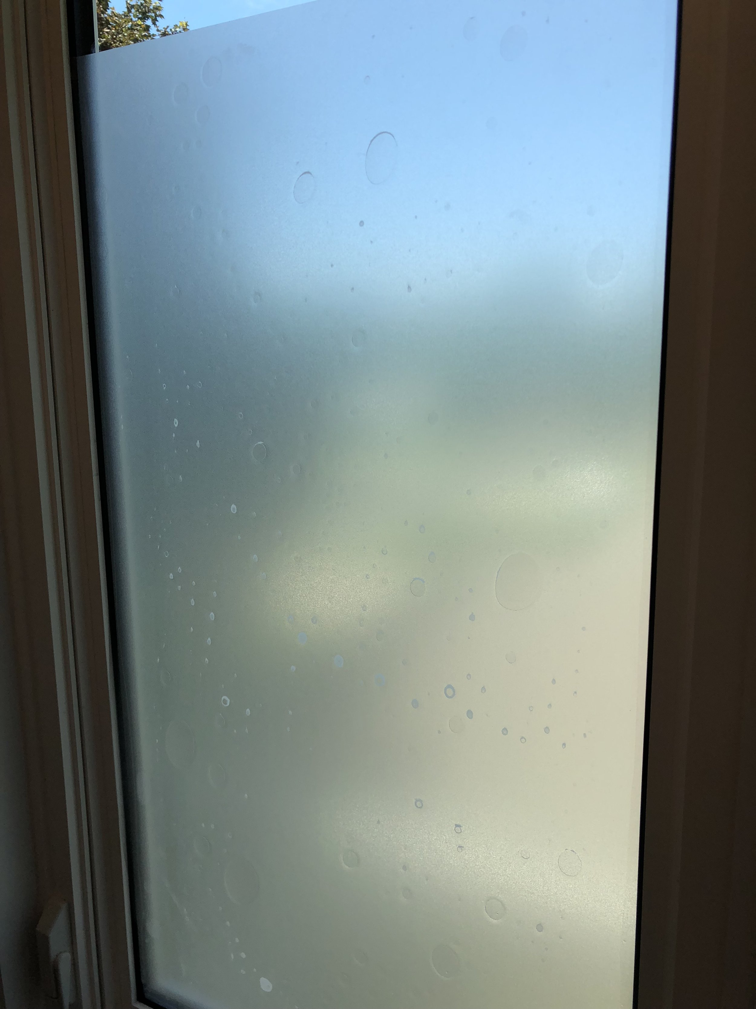 Window with air bubbles under privacy film