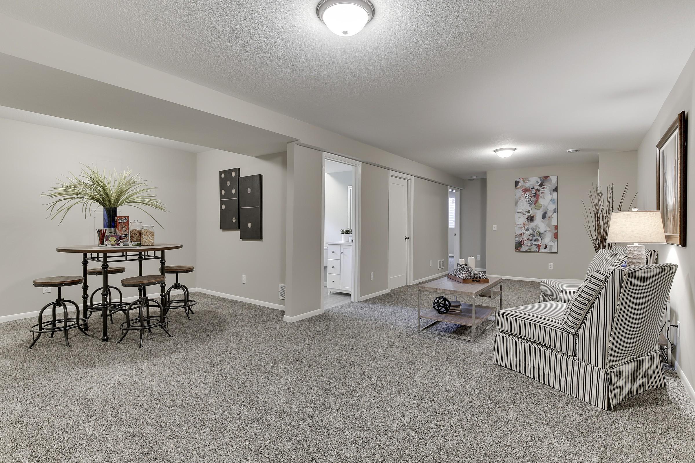 Basement Family Room and Wet Bar -