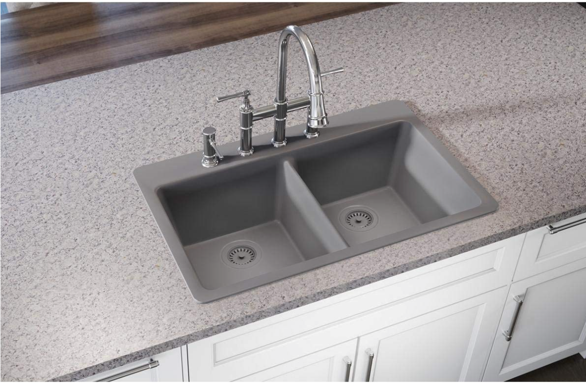 "Elkay ELG3322GS0 Quartz Classic 33"" Double Basin Drop-In Kitchen Sink"