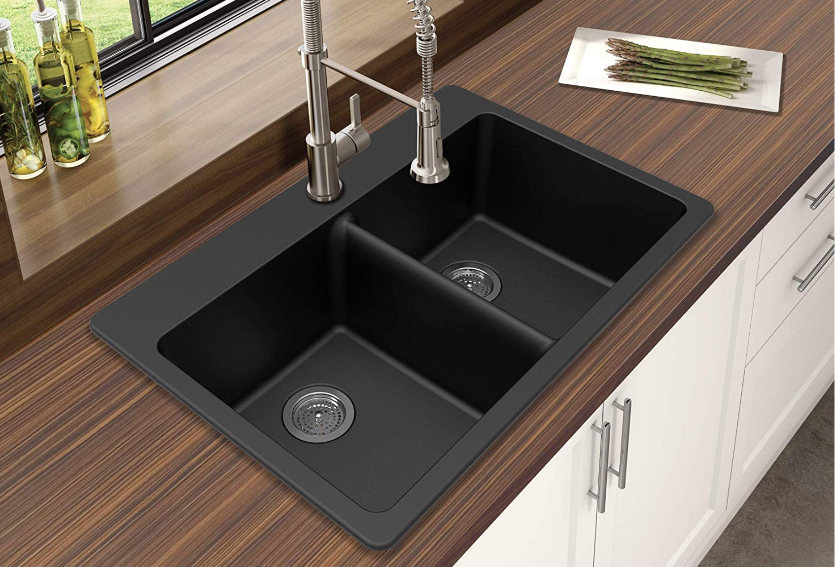 Dual Mount Sink in Black Granite Quartz