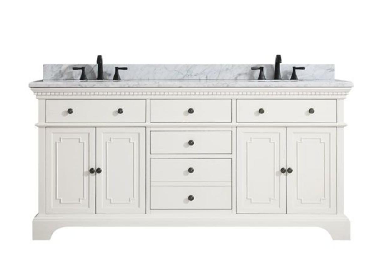 "Ruthann Marble Top 73"" Double Bathroom Vanity Set, $1879"
