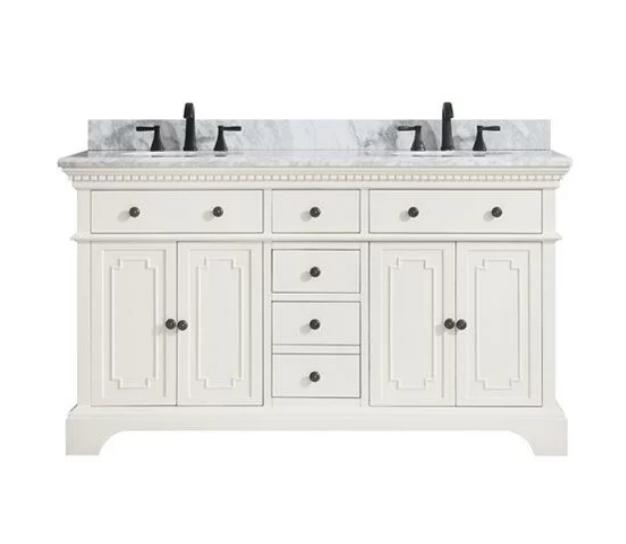 "Ruthann Marble Top 61"" Double Bathroom Vanity Set, $1629"