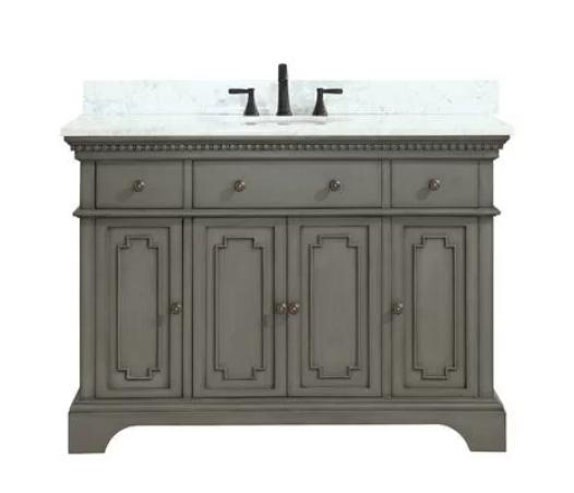 "Ruthann Marble Top 49"" Single Bathroom Vanity Set, $1369"
