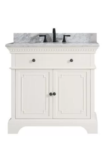 "Ruthann Marble Top 37"" Single Bathroom Vanity Set, $989"