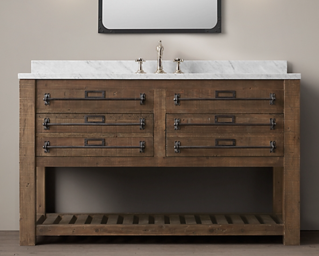 """55"""" EARLY 20TH C. MERCANTILE SINGLE EXTRA-WIDE WASHSTAND, $6155"""