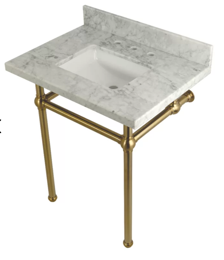 "Carrara Marble 30"" Single Bathroom Vanity Set, $759"