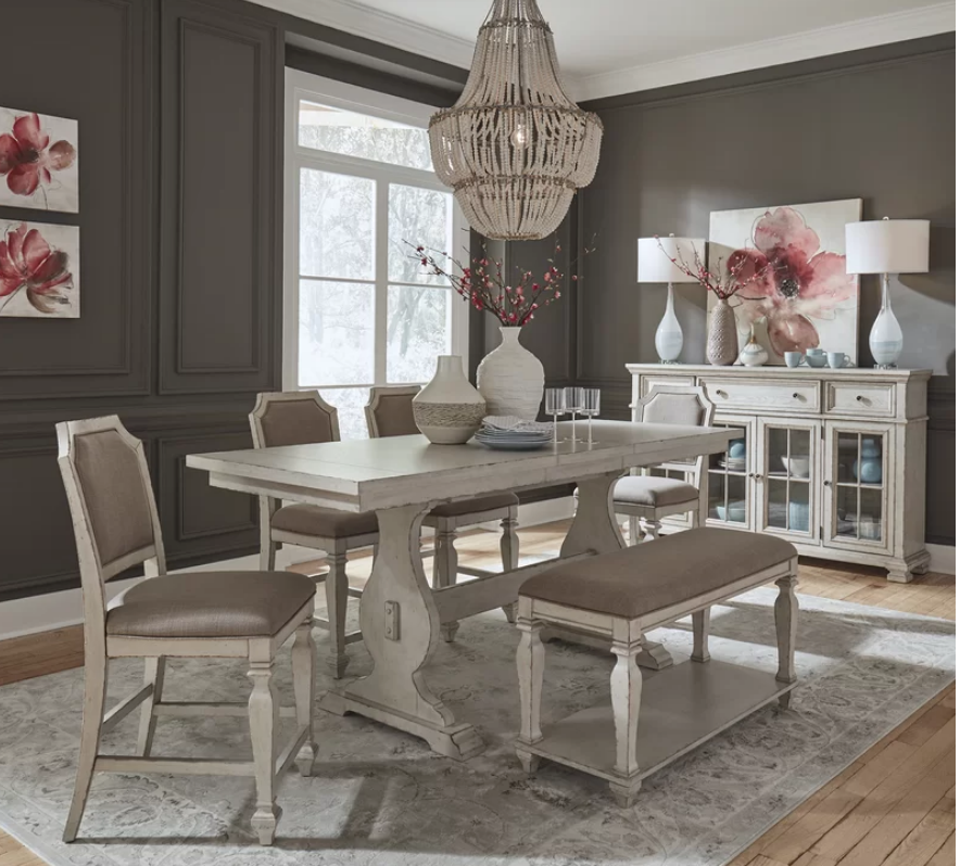 6 Piece Shabby Chic Dining Set With Bench